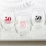 Kate Aspen Milestone Birthday Personalized 9 oz. Stemless Wine Glass