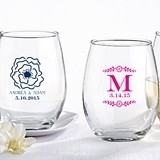 Kate Aspen Personalized 9 oz. Stemless Wine Glass (Botanical Designs)