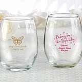Kate Aspen Personalized 9 oz. Stemless Wine Glass (Brunch Designs)