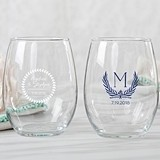 Kate Aspen Personalized 9 oz. Stemless Wine Glass (Botanical Garden)