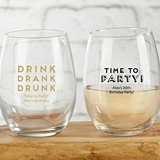 Kate Aspen 'Boozie Birthday' Personalized 9 oz. Stemless Wine Glasses