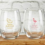 Kate Aspen Personalized 'Cheery and Chic' 9 oz. Stemless Wine Glasses