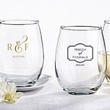 Kate Aspen Classic Collection Personalized 9 oz. Stemless Wine Glasses
