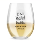 Personalized 'Eat Drink & Be Married' 9 oz. Stemless Wine Glasses