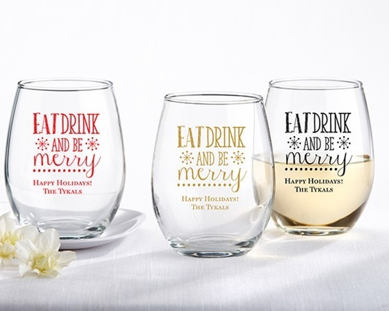 Personalized 'Eat Drink & Be Merry' Design 9 oz. Stemless Wine Glasses