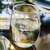 Personalized English Garden Design 9 oz. Stemless Wine Glasses