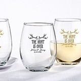 Personalized 'The Hunt is Over' Motif 9 oz. Stemless Wine Glasses