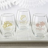 Kate Aspen Personalized Fall Designs 9 oz. Stemless Wine Glasses