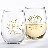 Milestone Gold Collection Personalized 9 oz. Stemless Wine Glasses