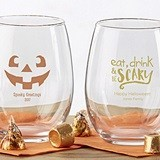 Kate Aspen Personalized Halloween Designs 9 oz. Stemless Wine Glasses