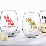 "Personalized ""Ho Ho Ho"" Design 9 oz. Stemless Wine Glasses"