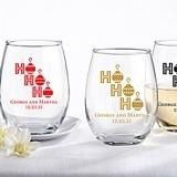 "Personalized ""Ho Ho Ho"" Design 9 oz. Stemless Wine Glasses"