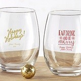 Kate Aspen Personalized Holiday Designs 9 oz. Stemless Wine Glasses