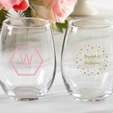 Kate Aspen Personalized 'Modern Classic' 9 oz. Stemless Wine Glasses
