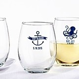 Nautical Baby Shower Personalized 9 oz. Stemless Wine Glasses