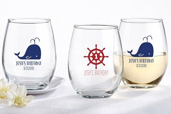 Kate Aspen Personalized Nautical Birthday 9 oz. Stemless Wine Glasses | Personalized Gifts and Party Favors
