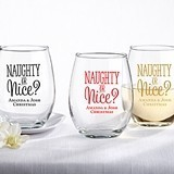 Kate Aspen Personalized 'Naughty or Nice?' 9 oz. Stemless Wine Glasses