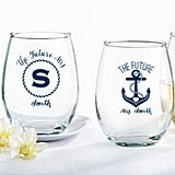 Nautical Bridal Shower Personalized 9 oz. Stemless Wine Glasses