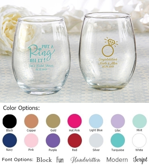 Kate Aspen Personalized 'Put A Ring On It' 9oz Stemless Wine Glasses