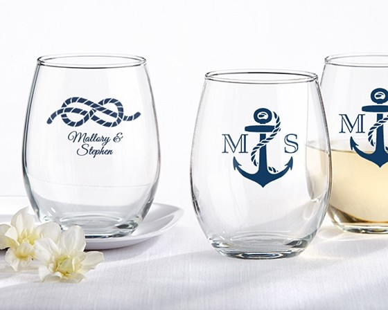 dcb7c9a91ec Kate Aspen Nautical-Theme Personalized 9 oz. Stemless Wine Glasses |  Personalized Gifts and Party Favors