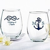 Kate Aspen Nautical-Theme Personalized 9 oz. Stemless Wine Glasses