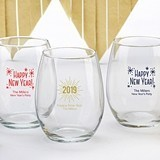 Kate Aspen Personalized Happy New Year's 9 oz. Stemless Wine Glasses