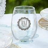 Personalized 9 oz. Stemless Wine Glasses (Boho Chic Designs)
