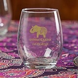 Personalized 9 oz. Stemless Wine Glasses (Indian Jewel Designs)