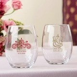 Personalized 9 oz. Stemless Wine Glasses (Exotic Indian Jewel Designs)