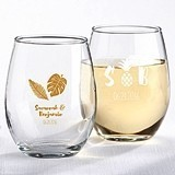 Personalized 9 oz. Stemless Wine Glasses (Palms & Pineapples Designs)
