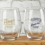 Personalized 9 oz. Stemless Wine Glasses (Party Time Designs)