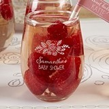 Kate Aspen Rustic Baby Shower Personalized 9 oz. Stemless Wine Glasses
