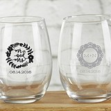 Personalized 9 oz. Stemless Wine Glasses (Romantic Garden Designs)