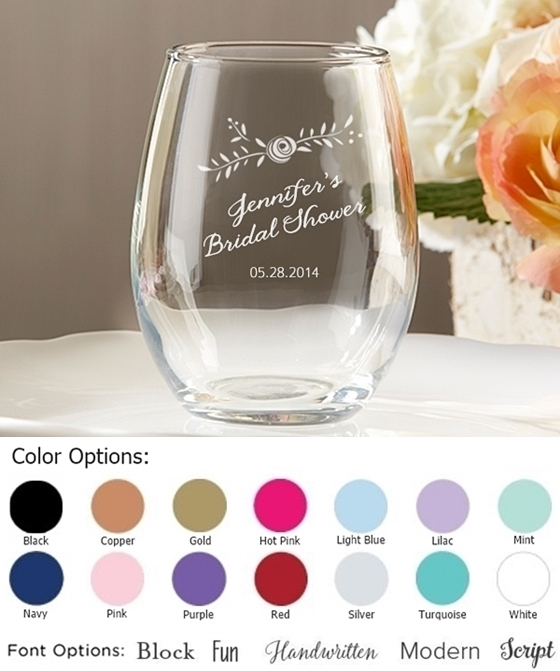 rustic bridal shower personalized 9 oz stemless wine glasses