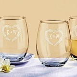 Rustic Wedding Themed Personalized 9 oz. Stemless Wine Glasses