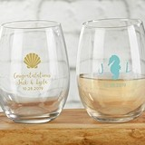 Kate Aspen Personalized 'Seaside Escape' 9 oz. Stemless Wine Glasses