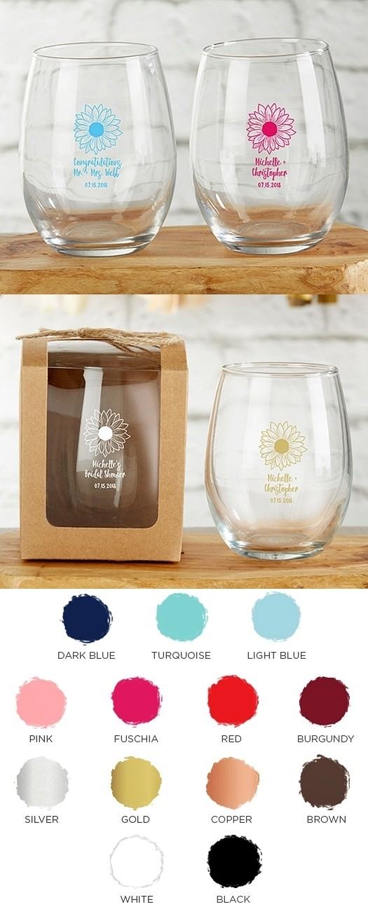 Kate Aspen Personalized 9 oz Stemless Wine Glass with Sunflower Design
