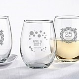 Milestone Silver Collection Personalized 9 oz. Stemless Wine Glasses