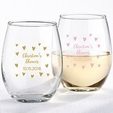 Personalized 9 oz. Stemless Wine Glasses with Sweet Hearts Design