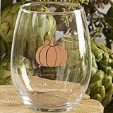 Personalized Thanksgiving Pumpkin Design 9 oz. Stemless Wine Glasses