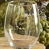 Personalized 'Give Thanks' Wreath Motif 9 oz. Stemless Wine Glasses