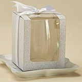 Silver Glitter 9 oz Stemless Wine Glass Display Gift-Boxes (Set of 12)