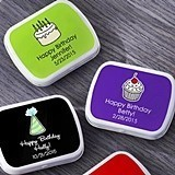 Kate Aspen Personalized White Mint Tins with Birthday Party Labels
