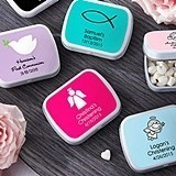 Personalized White Mint Tins Commemorating Religious Ceremonies