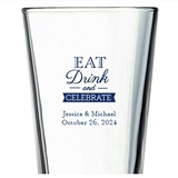 Kate Aspen Eat Drink and Celebrate Design Personalized 16oz Pint Glass