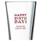Kate Aspen Block Happy Birthday! Design Personalized 16oz Pint Glass