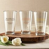"Personalized ""Thankful"" 16 oz. Pint Glasses"