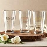 "Personalized ""Thankful"" 16 oz. Pint Glasses"