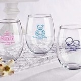 Beautiful Customized Stemless Wine Glasses 15 oz. (Baby Shower)