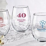 Kate Aspen Personalized 15 oz. Stemless Wine Glass (Birthday Designs)